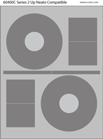 2 UP CD/DVD Stomper Compatible Labels - 100 Sheets
