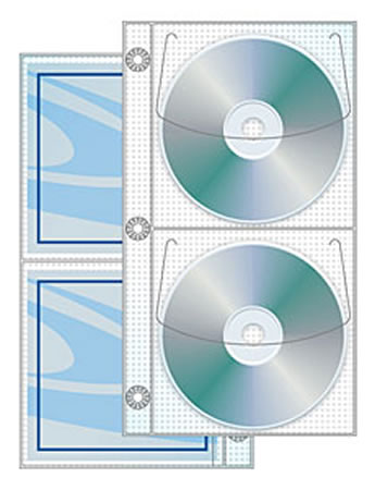 Vinyl 2 Pocket CD/DVD Half Page 3 Ring Binder 25 Pack
